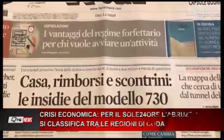 CRISI ECONOMICA: PER IL SOLE24ORE L'ABRUZZO SI CLASSIFICA TRA LE REGIONI DI CODA