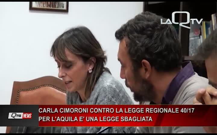 Carla Cimoroni contro la legge regionale 40: