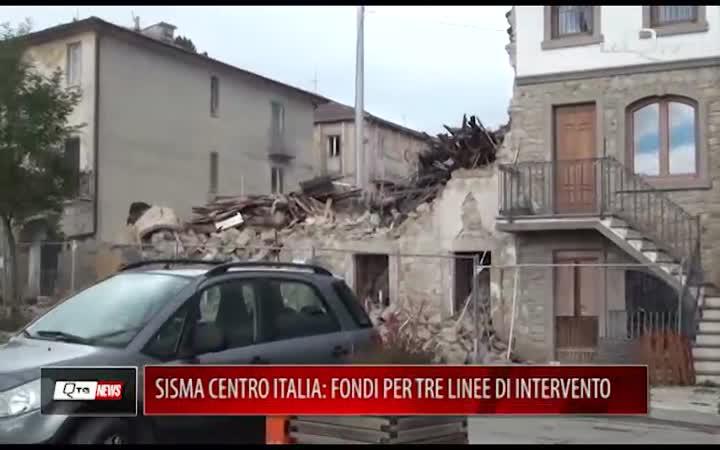 SISMA CENTRO ITALIA: FONDI PER TRE LINEE DI INTERVENTO
