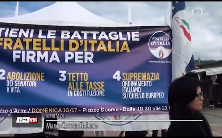 FRATELLI D'ITALIA: ANCHE A L'AQUILA RACCOLTA FIRME PER UN PAESE PIU' SOVRANO