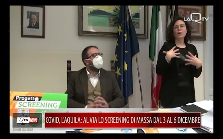 COVID, L'AQUILA: AL VIA LO SCREENING DI MASSA DAL 3 AL 6 DICEMBRE