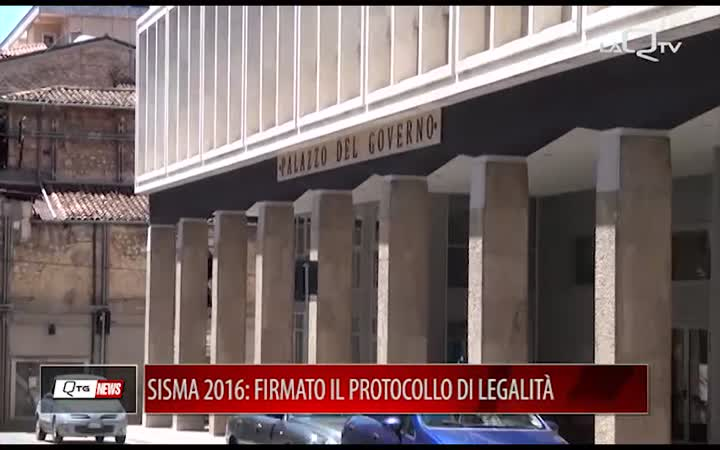 SISMA 2016: FIRMATO IN PREFETTURA IL PROTOCOLLO DELLA LEGALITA'