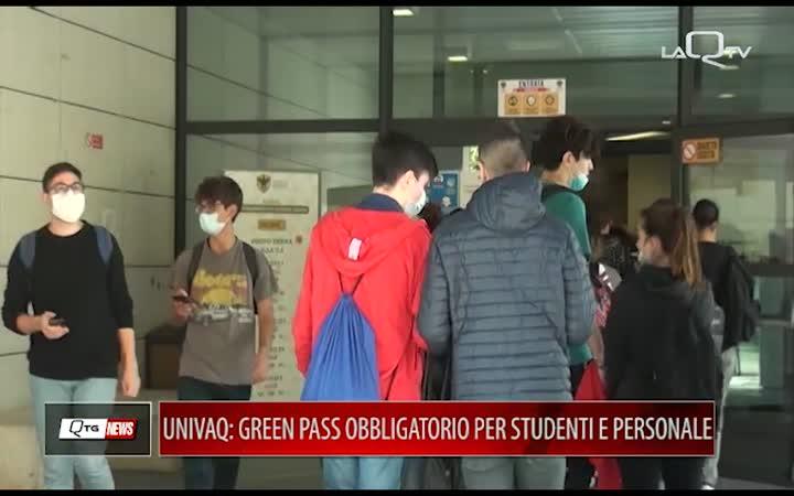UNIVERSITA' L'AQUILA: GREEN PASS OBBLIGATORIO PER PERSONALE E STUDENTI