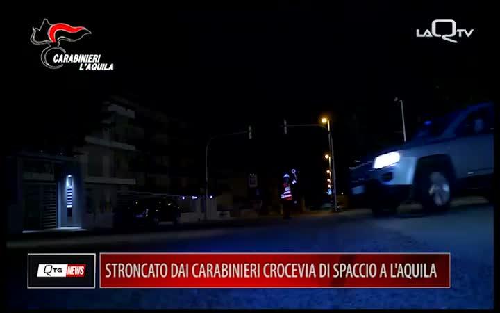 STRONCATO DAI CC CROCEVIA DI SPACCIO A L'AQUILA